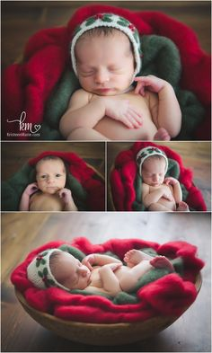 Christmas themed newborn photography set-up - holiday newborn pictures - green and red Christmas theme newborn pictures