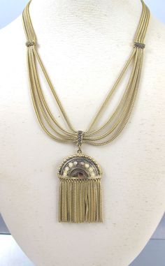 Victorian Revival Foxtail Tassel Necklace, Seed Pearl Pendant Fringe Chain Dangle Festoon Necklace, 1950s Vintage Victorian Revival Jewelry