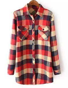 Fashioanble shirt Collar Plaid camisa de manga longa para as Mulheres