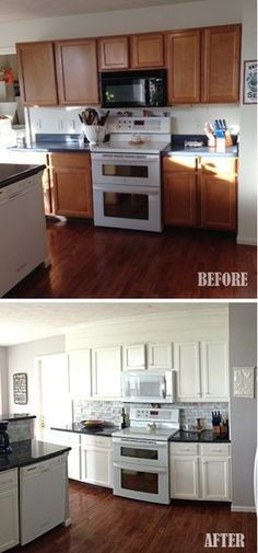 Kitchen before and after closing the space above the cabinets - moldings and paint.