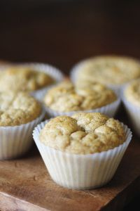 Banana Oatmeal Protein Muffins   Toned & Fit = 2 Ripe Bananas 2 Eggs (**For egg replacement see below) 1 Single Serving Cup (or 1 cup) of Plain Low-Fat Greek Yogurt (Use Coconut Yogurt for a dairy free option) 1/3 cup Raw Honey, Agave, or Date Paste 1 tsp Vanilla 2 ½ cups Dry Oats (Quick Oats or Rolled Oats – Use certified Gluten Free for GF option.) 1 ½ tsp Baking Powder ½ tsp Baking Soda 1 Scoop Protein Powder (I recommend Vanilla) Cinnamon to Taste