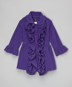 Another great find on #zulily! Purple Double-Ruffle Coat - Infant, Toddler & Girls by Mack & Co #zulilyfinds