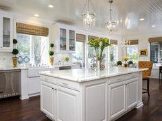 kitchen idea - Home and Garden Design Idea's---I love white in a kitchen with dark floors.