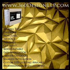 #a360design #design #LED #art #wallpanel #decor #homedecor #interiordesign #interiordesigners #seamless #3D Large Pyramid Design 3d Wall Tiles, 360 Design, Biodegradable Products, Indoor Outdoor, 3 D, Interior Design, Home Decor, Interior Design Studio