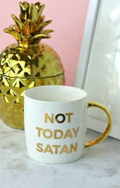 Not today satan! Mug with gold handle | Cute mugs | jesus and coffee | Christian coffee mug | Faith gifts | #christmasgifts #coffeemugs