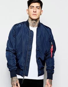Bomber Jacket by Alpha Industries Smooth woven fabric Baseball collar Zip  opening Side pockets Ribbed hem and cuffs Slim fit - cut closely to the  body Dry ... bf2e877d98b