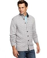 Club Room Sweater, Merino-Wool Blend Cable Cardigan