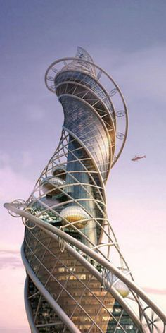 Wadala Tower, designed by James Law Cybertecture. Meant to be one of the tallest buildings on earth, this building is inspired by snakes of all things! One of my favorite elements of this design is the waterfall running down the core of the building. It waters the multileveled terrace gardens and cools the interior of the building.