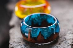 Wooden resin ring Wood rings Eco epoxy jewelry Green Wood ring