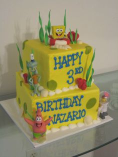 Spongebob theme 2-tier cake this is perfect for braxtons 3rd BD