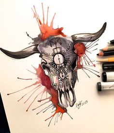 Day 6- Cow Skull Design by Lucky978.deviantart.com on @DeviantArt