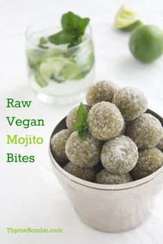 Raw Vegan Mojito Bites made with macadamia nuts, cashews, and dates.