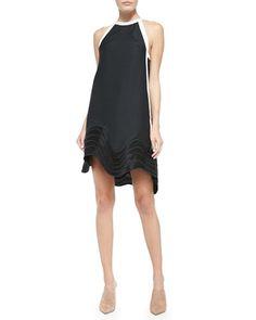 B2TKM 3.1 Phillip Lim Wave-Embroidered Jacquard Shift Dress, Black