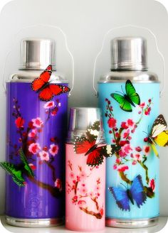 Butterfly coffee tea thermos