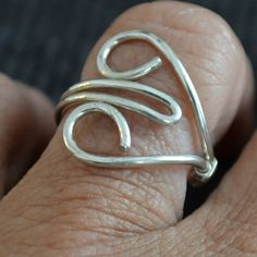 Sterling Silver Heart Ring Adjustable hand by Untwistedsister, $22.00