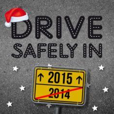 Zakelijke kerstkaart voor uw relaties in de transport en logistieke sector. Asfaltweg en verkeerbord richting 2015 met toepasselijke tekst: Drive Safely.
