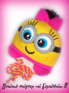 Bonnet Crochet, Crochet Beanie Pattern, Crochet Toys Patterns, Crochet Crafts, Crochet Projects, Crochet Funny Hat, Minion Crochet, Crochet Humor, Newborn Crochet