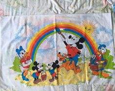 Vintage 70's Disney Mickey Mouse Twin Flat Sheet And Pillowcase Painting Rainbow