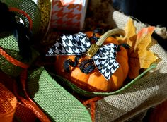 "Take your fall pumpkins and gourds to the next level, simply by adding some of your favorite ribbons and bows! We have thousands of ribbons, in hundreds of colors and patterns to choose from! Create some ""Fright-fully Chic"" Halloween party decor!"