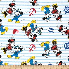 Disney Captain Mickey & Minnie White from @fabricdotcom  Designed by Disney and licensed to Springs Creative Products, this cotton print fabric is perfect for quilting, apparel and home decor accents. Colors include black, yellow, grey, white, shades of blue, and shades of red. Due to licensing restrictions, this item can only be shipped to USA, Puerto Rico, and Canada.