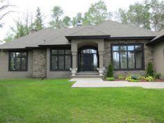 taupe stone houses dark trim - Google Search