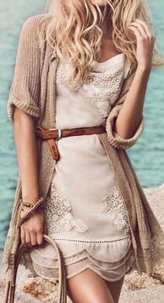 Scallop hemmed mini dress boho chic fashion, Bohemian long sweater.  For more modern hippie trends FOLLOW http://www.pinterest.com/happygolicky/the-best-boho-chic-fashion-bohemian-jewelry-gypsy-/: