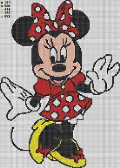Minnie Mouse cross stitch pattern by Vandihand on Etsy Cross Stitch Pattern Maker, Cross Stitch Patterns, Mickey Mouse And Friends, Minnie Mouse, Hand Embroidery Patterns, Crochet Patterns, Baby Cats, Pattern Making, Crochet Projects