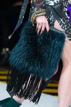 Fur and fringe. Runway bags Milan Fashion Week Fall 2014 #MFW