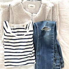 """""""These @ctznsofhumanity jeans on repeat with #jamesperse #stripes and a cozy cozy @aritzia vest #ootd"""""""