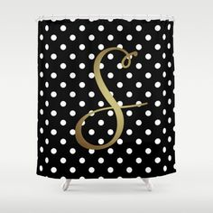 monogrammed shower curtain black white polka dot gold monogram cute bathroom decor
