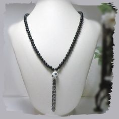 Black and White Beaded Necklace by TeriCalbertDesigns on Etsy