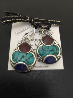 Tibetan Vintage Small Handmade Earrings. Ethnic jewellery Bohemian earrings mosaic handmade turquoise earrings  Artisan earrings   #earrings #bohemian #boho #cute #sweet #small #bohostyle #styleblogger