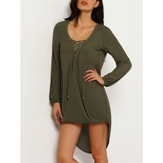 Army Green Long Sleeve Lace Up Asymmetric Dress (81 SEK) ❤ liked on Polyvore featuring dresses, green, brown dress, green long sleeve dress, short front long back dress, green dress and high low dresses