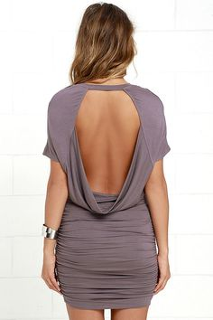 Maintain a perfect balance between stylish and sexy with the Chic Composure Dusty Purple Backless Dress! Jersey knit shapes a rounded neckline atop a relaxed bodice with short dolman sleeves, and an elastic waistline. An open back drapes above a bodycon skirt with ruching at sides.