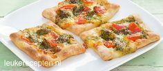 Snelle en makkelijke hartige snack met tomaat, mozzarella en pesto