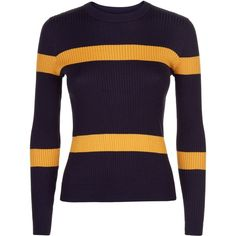 Jaeger Ribbed Stripe Cropped Sweater ($165) ❤ liked on Polyvore featuring tops, sweaters, women knitwear, cropped tops, purple sweater, stripe crop top, fitted tops and rib sweater