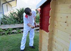 ADLER-Gartenhaus streichen - erster Anstrich mit Pullex Aqua Color