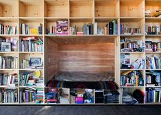 great bednook behind bookshelves in a house by university of colorado students