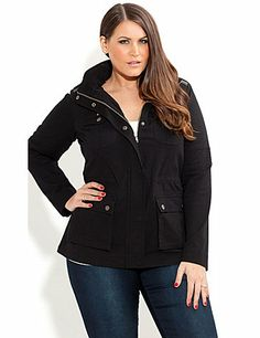 Get prepared for the cooler days with our Stud Utility Jacket. Features include a mandarin collar with a concealed hood, a zip through front with snap button fastening, full length sleeves with a leatherette trim on the shoulders, 2 patch pockets on the chest and hips with snap button fastening, shoulder epaulettes with snap button fastening and a concealed drawstring waist. sonsi.com