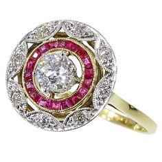 Art Deco estate engagement ring with diamonds and rubies