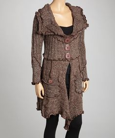 Take a look at this Coffee Wool-Blend Sweater by Pretty Angel on #zulily today!