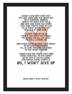 Jason Mraz I Won't Give Up Song Lyrics Unframed by yoyocallmemj, $18.00