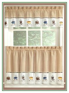 Gorgeous Coffee Curtains Valance Tiers Cappuccino Kitchen Decor