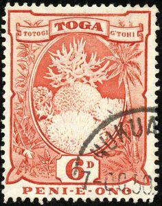 "Tonga  1942 Scott 78 6p orange red  ""Coral Formations""; Wmk 4"