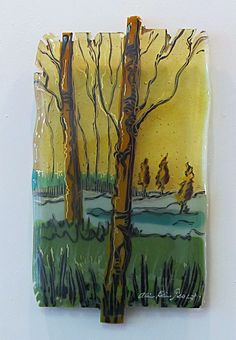 Amber Skies: Kiln Fired Fused Glass, panel by Alice Benvie Gebhart