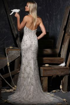 Victor Harper Couture wedding dress style VHC310, back view in embroidered tulle #sheath #lace #beaded