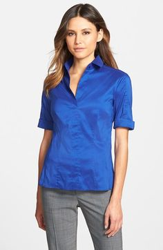 BOSS 'Bashini' Fitted Poplin Blouse available at #Nordstrom