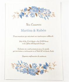 Invitación y sobre Flores Acuarela Azul