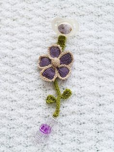 Knitted Flower Pacifier Clip Free Pattern