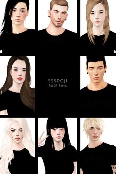 """sssooji: """"G I F T P A C K 1 Hello good people of Tumblr ( and visitors ) Today, I'll be releasing 8 of my sims for use in your games and whatnot. Yes they are base sims and you can use them in your..."""